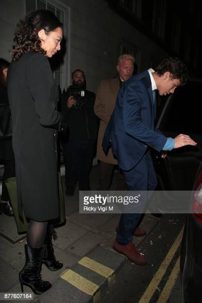 Lilly Elias Balthasar and Boris Becker seen leaving C restaurant in Mayfair after celebrating Boris Becker's 50th birthday party on November 22 2017...