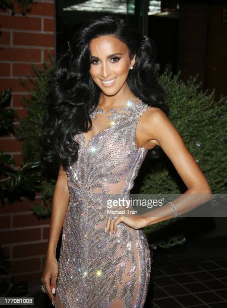Lilly Ghalichi arrives at the Have Faith Swimgerie fashion event held at Kyle by Alene Too on August 20 2013 in Beverly Hills California