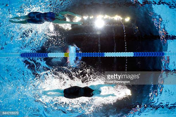 Lilly King and Micah Lawrence of the United States compete in the final heat for the Women's 200 Meter Breaststroke during Day Six of the 2016 US...