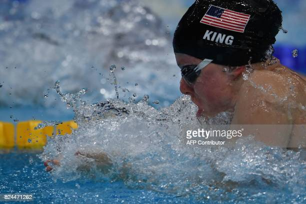 US Lilly King competes in the final of the women's 50m breaststroke during the swimming competition at the 2017 FINA World Championships in Budapest...