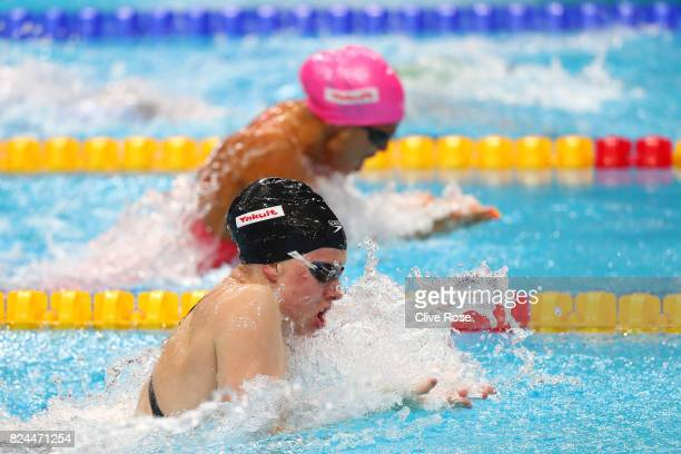 Lilly King of the United States and Yuliya Efimova of Russia compete during the Women's 50m Breastsroke Final on day seventeen of the Budapest 2017...