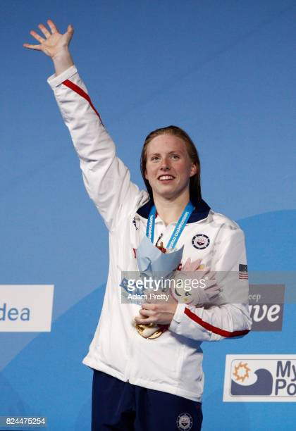 Lilly King of the United States celebrates her gold medal and a new World Record of 2940 in the Women's 50m Breastsroke Final on day seventeen of the...