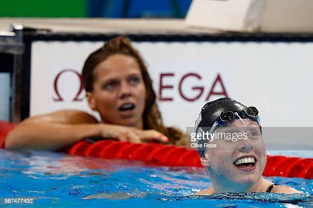 Lilly King of the United States celebrates winning gold in the Women's 100m Breaststroke Final on Day 3 of the Rio 2016 Olympic Games at the Olympic...
