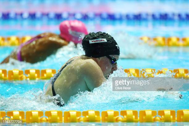 Lilly King of the United States competes in the Women's 100m Breaststroke Final on day three of the Gwangju 2019 FINA World Championships at Nambu...