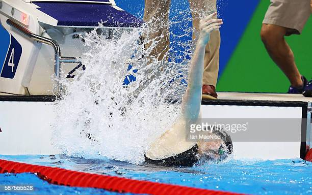 Lilly King of United States celebrates winning the Women's 100m Breaststroke on Day 3 of the Rio 2016 Olympic Games at the Olympic Aquatics Stadium...
