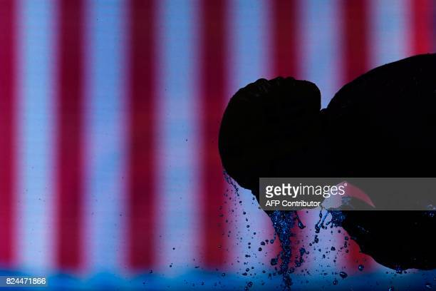 US Lilly King prepares to compete in the final of the women's 50m breaststroke during the swimming competition at the 2017 FINA World Championships...