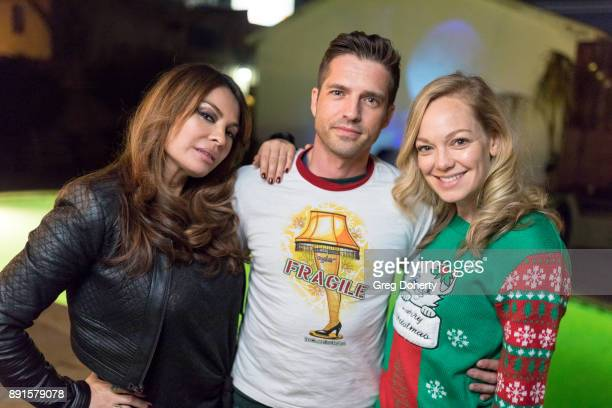 Lilly Melgar Scott Bailey and Abby Wathen attend The Bay Ugly Sweater And Secret Santa Christmas Party at Private Residence on December 12 2017 in...