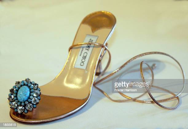 Lilly one of the designer shoe accessory from The Jimmy Choo Oscar 2003 Shoe collection is on display at Jimmy Choo boutique on March 17 2003 in...