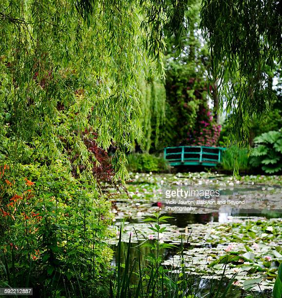 lilly pond and japanese bridge, monet's giverny - claude monet stock pictures, royalty-free photos & images