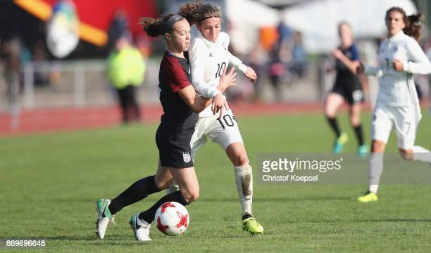 Lilly Reale of United States challenges Annika Wohner of Germany during the International Friendly match between Germany U15 Girls and United States...