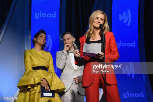 Lilly Singh Adam Rippon and Samantha Bee speak onstage during the 30th Annual GLAAD Media Awards New York at New York Hilton Midtown on May 04 2019...