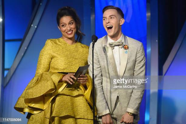 Lilly Singh and Adam Rippon speak onstage during the 30th Annual GLAAD Media Awards New York at New York Hilton Midtown on May 04 2019 in New York...