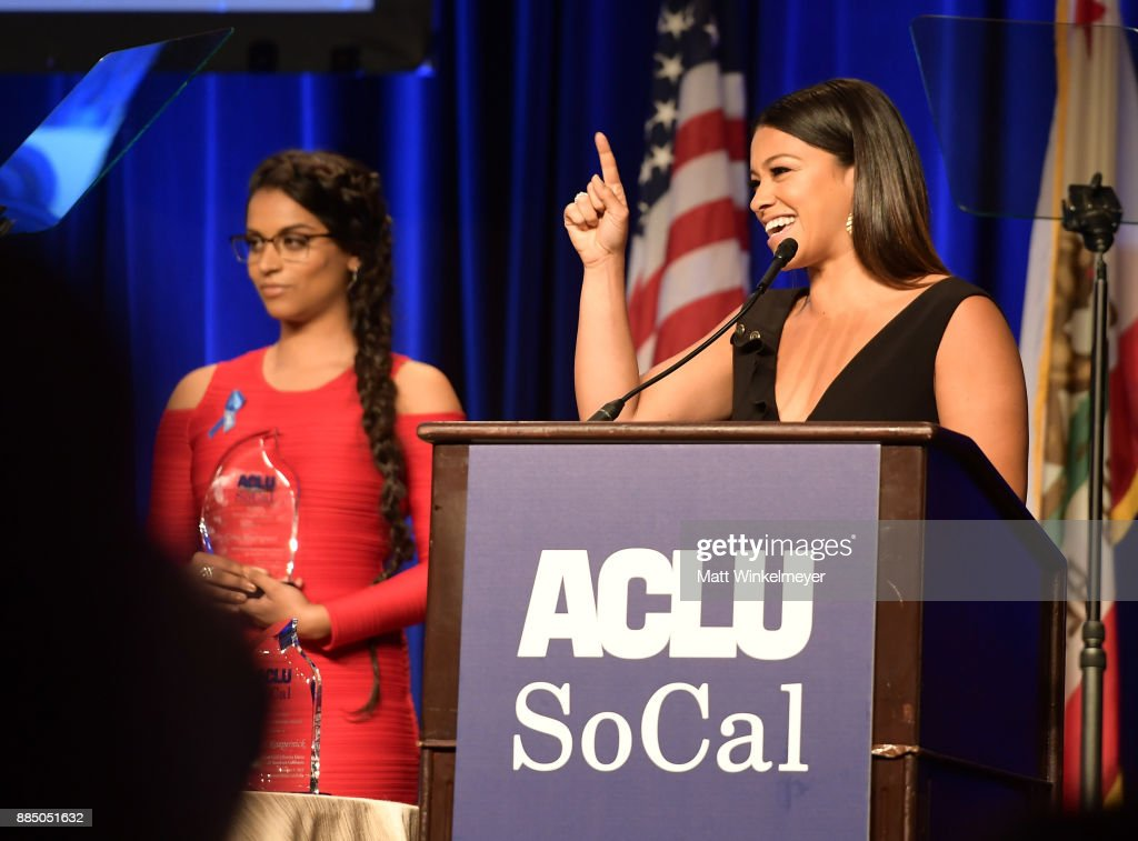 Lilly Singh and honoree Gina Rodriguez speak onstage at ACLU SoCal Hosts Annual Bill of Rights Dinner at the Beverly Wilshire Four Seasons Hotel on December 3, 2017 in Beverly Hills, California.