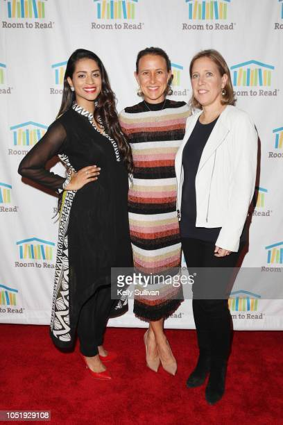 Lilly Singh Anne Wojcicki and Susan Wojcicki attend Room To Read 2018 International Day Of The Girl Benefit at One Kearny Club on October 11 2018 in...