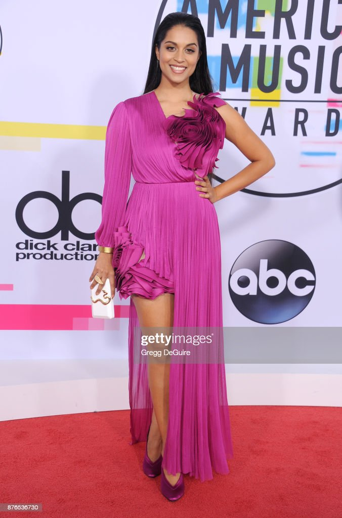 Lilly Singh arrives at the 2017 American Music Awards at Microsoft Theater on November 19, 2017 in Los Angeles, California.