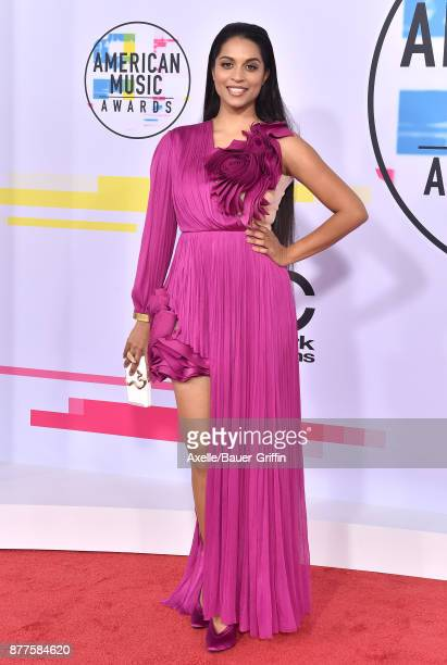 Lilly Singh arrives at the 2017 American Music Awards at Microsoft Theater on November 19 2017 in Los Angeles California