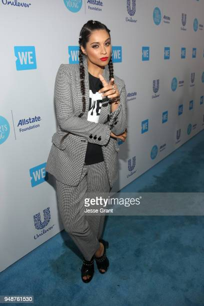 Lilly Singh attends WE Day California at The Forum on April 19 2018 in Inglewood California