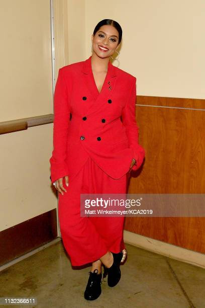 Lilly Singh poses backstage at Nickelodeon's 2019 Kids' Choice Awards at Galen Center on March 23 2019 in Los Angeles California