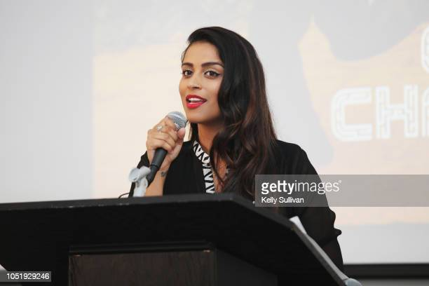 Lilly Singh speaks at Room To Read 2018 International Day Of The Girl Benefit at One Kearny Club on October 11 2018 in San Francisco California