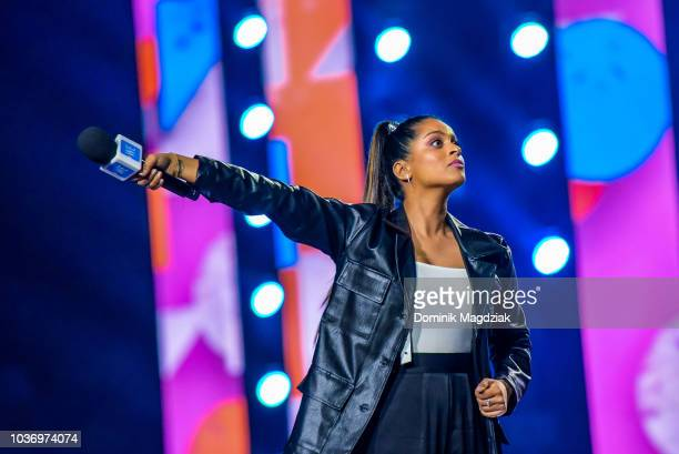 Lilly Singh speaks on stage during the 2018 WE Day Toronto Show at Scotiabank Arena on September 20 2018 in Toronto Canada