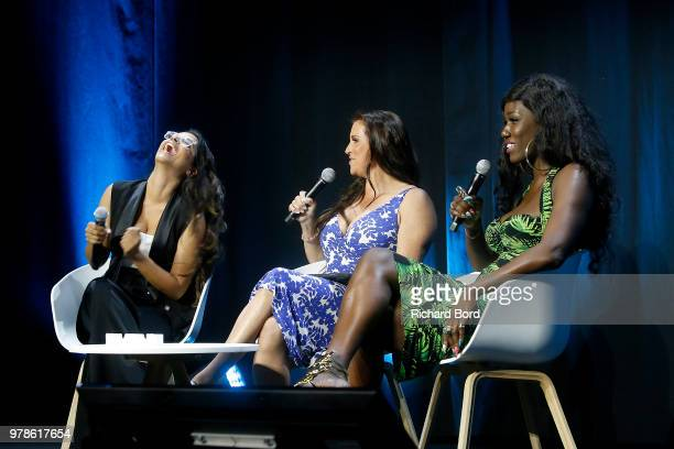 Lilly Singh Stephanie McMahon and Bozoma Saint John speak onstage during the WWE session at the Cannes Lions Festival 2018 on June 19 2018 in Cannes...