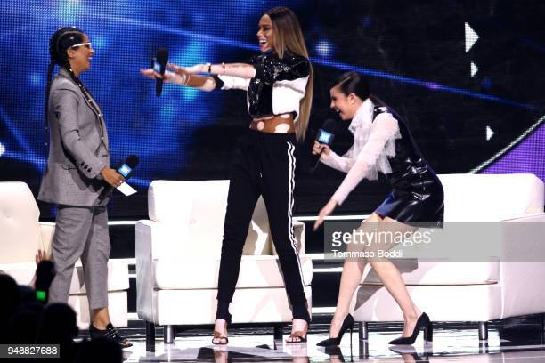 Lilly Singh Winnie Harlow and Sofia Carson onstage at WE Day California at The Forum on April 19 2018 in Inglewood California