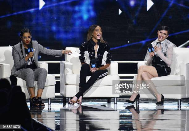 Lilly Singh Winnie Harlow and Sofia Carson speak onstage at WE Day California at The Forum on April 19 2018 in Inglewood California