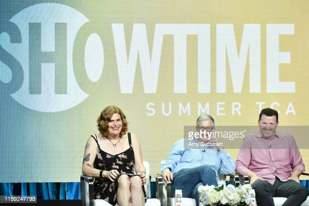 Lilly Wachowski Abby McEnany and Tim Mason of Work In Progress speak during the Showtime segment of the 2019 Summer TCA Press Tour at The Beverly...