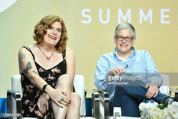 Lilly Wachowski and Abby McEnany of Work In Progress speak during the Showtime segment of the 2019 Summer TCA Press Tour at The Beverly Hilton Hotel...