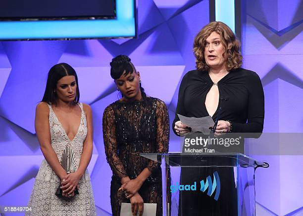 Lilly Wachowski speaks onstage with Keke Palmer and Lea Michele during the 27th Annual GLAAD Media Awards held at The Beverly Hilton Hotel on April 2...