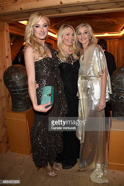Lilly Zu Sayn Wittgenstein Berleburg Catherine Roemmers and Ester Velo van Hulst attend Bulgari High Jewelry Event St Moritz on February 14 2015 in...