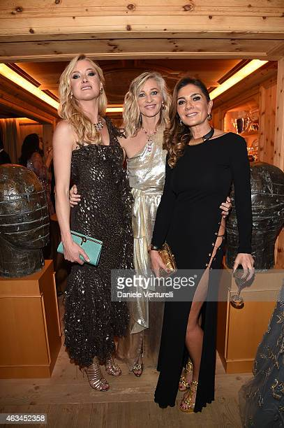 Lilly Zu Sayn Wittgenstein Berleburg Ester Velo van Hulst and Stefania Baldan attend Bulgari High Jewelry Event St Moritz on February 14 2015 in St...