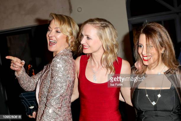 Lilly zu Sayn Wittgenstein with her sister MarieLouise Sayn Wittgenstein and Mahkameh Navabi during the Bulgari party with the motto #Starsinbulgari...