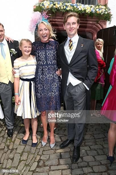 Lilly zu Sayn-Wittgenstein-Berleburg and her son Prinz Heinrich Donatus zu Schaumburg-Lippe and daughter Lana Milano during the wedding of Prince...