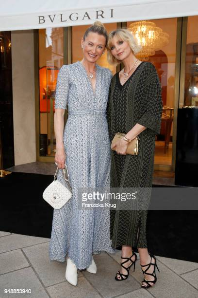 Lilly zu SaynWittgensteinBerleburg and Nadja Auermann during the Bulgari boutique opening on April 19 2018 in Hamburg Germany