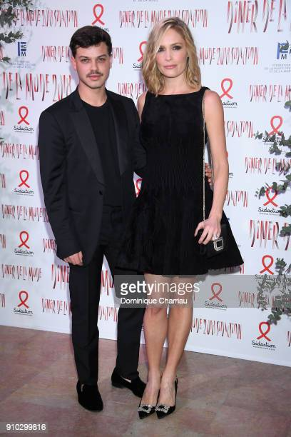 Lilou Fogli and a guest attend the 16th Sidaction as part of Paris Fashion Week on January 25 2018 in Paris France