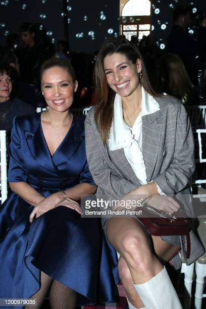 Lilou Fogli and Laury Thilleman attend the Alexis Mabille Haute Couture Spring/Summer 2020 show as part of Paris Fashion Week on January 21 2020 in...