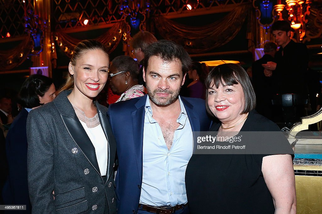 Lilou Fogli, Clovis Cornillac and Myriam Boyer attend the 26th Molieres Awards Ceremony at Folies Bergere on June 2, 2014 in Paris, France.