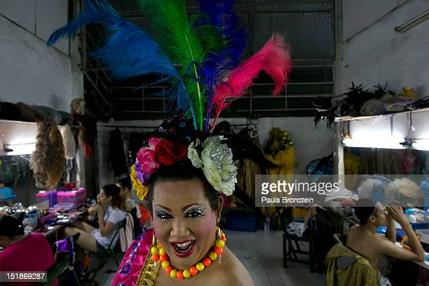 Lily a ladyboy dancer poses before she goes on stage at the Chiang Mai Cabaret show before a performance September 9 2012 in Chiang Mai Thailand The...