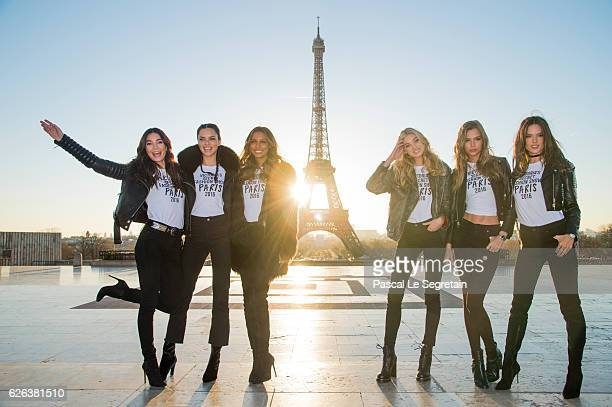Lily Aldridge Adriana Lima Jasmine Tookes Elsa Hosk Josephine Skriver and Alessandra Ambrosio attend a photocall for the Victoria's Secret Angels...