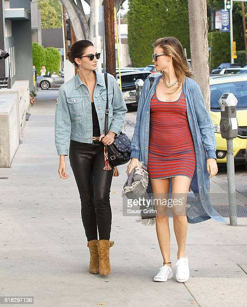 Lily Aldridge and Behati Prinsloo are seen on March 30 2016 in Los Angeles California