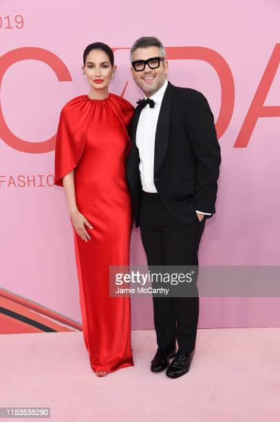 Lily Aldridge and Brandon Maxwell attends the CFDA Fashion Awards at the Brooklyn Museum of Art on June 03 2019 in New York City