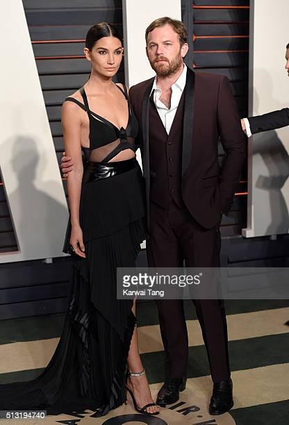 Lily Aldridge and Caleb Followill attend the 2016 Vanity Fair Oscar Party Hosted By Graydon Carter at Wallis Annenberg Center for the Performing Arts...