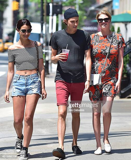 Lily Aldridge and Kate Upton are seen in Tribeca on July 3 2014 in New York City