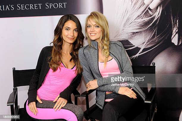 Lily Aldridge and Lindsay Ellingson celebrate the launch of the World's Best Sport Bras from Victoria's Secret Sport on October 22 2013 in New York...