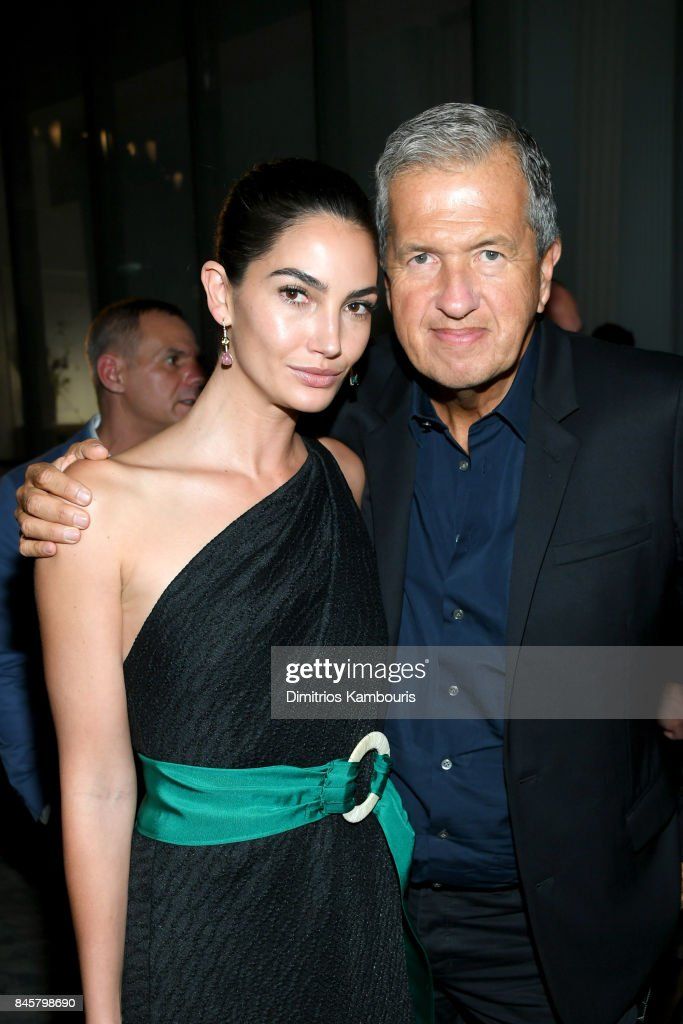 Lily Aldridge and Mario Testino attend Oscar De La Renta fashion show during New York Fashion Week on September 11, 2017 in New York City.