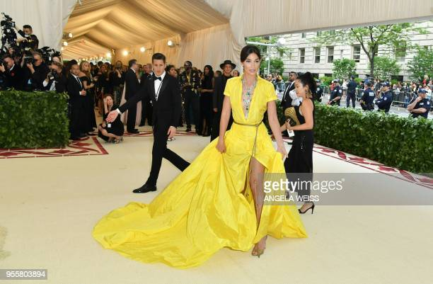 Lily Aldridge arrives for the 2018 Met Gala on May 7 at the Metropolitan Museum of Art in New York The Gala raises money for the Metropolitan Museum...