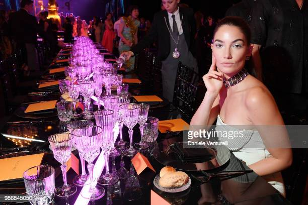 Lily Aldridge attends BVLGARI Dinner Party at Stadio dei Marmi on June 28 2018 in Rome Italy