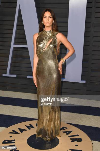 Lily Aldridge attends the 2018 Vanity Fair Oscar Party hosted by Radhika Jones at the Wallis Annenberg Center for the Performing Arts on March 4 2018...