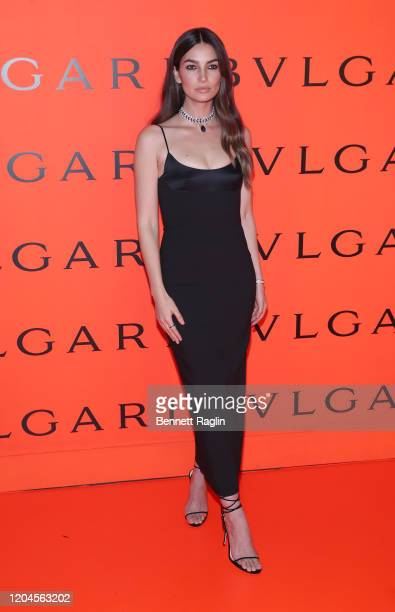 Lily Aldridge attends the Bvlgari B.zero1 Rock collection event at Duggal Greenhouse on February 06, 2020 in Brooklyn, New York.